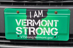 Tropical Storm Irene Vermont Strong license plates celebrate unity