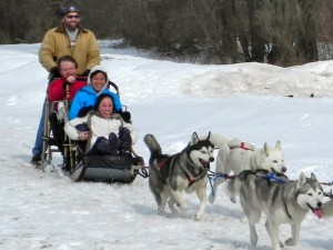 Enjoy a winter dogsledding adventure just outside Woodstock